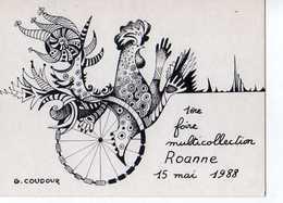 42  ROANNE 1° Foire Muticollection  Illustrateur G Coudour, Carte Numerote 001184 - Roanne