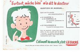 """Buvard LE SUCRE """"Surtout Mâche Bien"""" M'a Dit Le Docteur L'aliment Du Muscle C'est LE SUCRE Buvard N°1 - Sucreries & Gâteaux"""