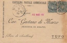 Mignano. 1899. Annullo Grande Cerchio MIGNANO, Su Cartolina Postale - 1878-00 Umberto I