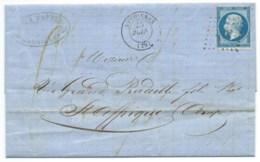 N° 14 BLEU NAPOLEON SUR LETTRE / SOMMIERES GARD POUR ST AFFRIQUE / 25 JANV 1862 - Marcophilie (Lettres)