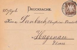 WURZBURG A GUNDERSHEIM EMPFANGSANZEIGE ANNEE 1898 CARTE POSTAL DRUCKSACHE AVEC TIMBRE ET CACHET A MR DERNBACH HAGUENAU - Allemagne
