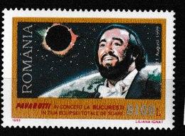 MB 14) Rumänien 1999 Mi# 5425 **: Luciano Pavarotti, Tenor, Sonnenfinsternis Am 11.8.1999 - Musik