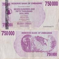 Zimbabwe / 750 000 Dollars / 2007 / P-52(a) / VF - Zimbabwe