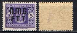 TRIESTE - AMGFTT - 1947 - SEGNATASSE DEL REGNO CON SOVRASTAMPA SU DUE RIGHE - VALORE DA 5 LIRE - MNH - 7. Triest