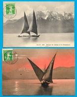 CPA AK Suisse (GE GENEVE) (Lot De 2) Barques Sur Le Lac Léman ** Alpes Phila Marcophilie - GE Geneva