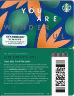 USA - You Are Wonderful, Starbucks Card(reverse 2), CN : 6178, Unused - Cartes Cadeaux