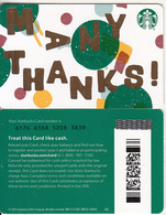 USA - Many Thanks, Starbucks Card(reverse 2), CN : 6176, Unused - Cartes Cadeaux