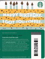 USA - Happy Birthday, Starbucks Card(reverse 2), CN : 6176, Unused - Cartes Cadeaux