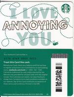 USA - I Love You, Starbucks Card(reverse 2), CN : 6176, Unused - Cartes Cadeaux