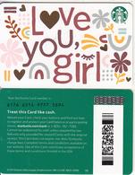 USA - Love You Girl, Starbucks Card(reverse 2), CN : 6176, Unused - Cartes Cadeaux