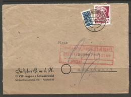 GERMANY / BADEN. 1949. COVER. VILLINGEN SCHWARZWALD – SUDGLAS Co. 20pf WITH BERLIN TAX STAMP. - Zone Française