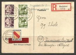 GERMANY. FRENCH ZONE. 1948. REGISTERED CARD. MONTABAUR – RHEINLAND PFALZ - Zone Française