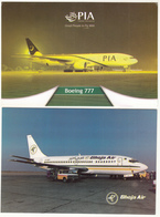PAKISTAN LOT OF 2 AIRLINES POSTCARDS BHOJA AND PIA PAKISTAN INTERNATIONAL AIRLINES MINT - Pakistan