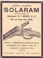 Pub Reclame Orig. Knipsel Magazine - Armes & Munitions De Chasse - Solaram - M. Limbrée & Cie - Liège  - 1926 - Pubblicitari