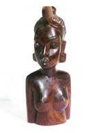 Statue De Buste En Bois D'une Jeune Fille Africaine - Arte Africana