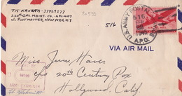 20599# LETTRE CENSURE MILITAIRE Obl US ARMY POSTAGE SERVICE 22 FEB 1945 APO 516 HOLLYWOOD CALIFORNIA ROUEN LE HAVRE ? - Marcophilie (Lettres)