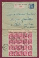170320 - Lettre Recommandée Affranchie 5frs Et Bloc De 20 De 3frs Marianne De Gandon Oblitéré St LEGER Sur Beuvray 1949 - Marcophilie (Lettres)