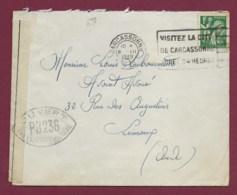 170320 - GUERRE 39/45- Lettre Affranchie 1frs  Carcassonne Cachat Censure Ouvert Par L'autorite Militaire PB236 1939 - Marcofilia (sobres)