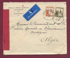 170320 - PALESTINE JERUSALEM - Lettre Affranchie Censurée Pour L'Algérie - JERUSALEM POSTAL CENSORSHIP - 1939 - Palestina