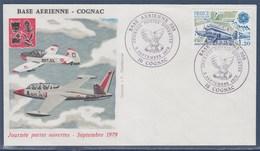 = Base Aérienne 709 Journée Portes Ouvertes Cognac 9.9.79 Enveloppe Timbre Europa 2046 Aviation Postale Intérieure - Marcophilie (Lettres)