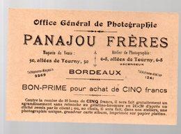 (photo) Bordeaux (33 Gironde) Carte PANAJOU Frères  (photographes) (PPP22062) - Advertising
