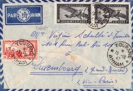 20608# INDOCHINE LETTRE PAR AVION Obl TOURANE ANNAM 1947 Pour LUXEMBOURG VIA PARIS - Indocina (1889-1945)