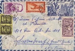 20611# INDOCHINE LETTRE PAR AVION Obl TOURANE ANNAM 1947 + POSTE AUX ARMEES TOE T.O.E. Pour LUXEMBOURG VIA FRANCE - Indocina (1889-1945)