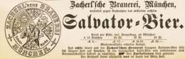 Original-Werbung/ Anzeige 1889 - SALVATOR-BIER - ZACHERL'SCHE BRAUEREI - MÜNCHEN - Ca. 140 X 45 Mm - Pubblicitari