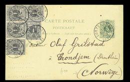 CP 13 + COB 42 X 5 Cortenbergh 22 SEPT 1891 => Trondjem ( Actuel Trondhjem ) Norvège ( Marque En Creux De L'expéditeur ) - Entiers Postaux