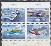 +Iceland 1993. Postplanes. Coprint Bloc Of 4. Michel 791-94. MNH(**) - 1944-... Republique