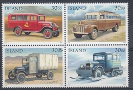 +Iceland 1992. Postcars. Coprint Bloc Of 4. Michel 770-73. MNH(**) - 1944-... Republique