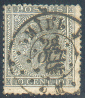 N°17 - 10 Centimes Gris Obl. Dc Ambulant MIDI V Du 28 Octobre 1866.  Rare. - 15318 - 1865-1866 Profil Gauche