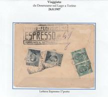 REGNO 032 - Lettera Espresso Viagg. Nel 1907 Da Desenzano Sul Lago A Torino - Poststempel