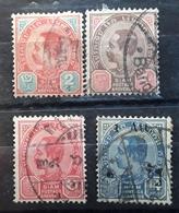 SIAM 1904 - 1905 CHULALONGKORN 1 ER, 4 Timbres Yvert 43, 45, 46, 49, Obl TTB VFU - Siam