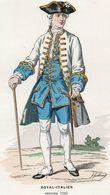 Gravure Couleur. Militaria. Infanterie. Royal Italien. Officier 1760 - Uniformes