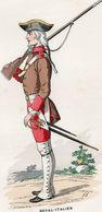Gravure Couleur. Militaria. Infanterie. Royal Italien. Chasseur 1745 - Uniformes