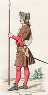 Gravure Couleur. Militaria. Infanterie. Royal Italien. Piquier 1700 - Uniformes