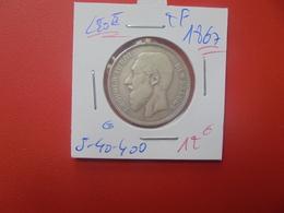 Léopold II. 2 Francs 1867 ARGENT (A.6) - 1865-1909: Leopoldo II