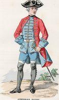 Gravure Couleur. Militaria. Infanterie. Arbonnier Suisse. Officier 1761 - Uniformes