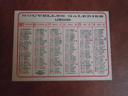 Calendrier, 1927, NOUVELLES GALERIES, Limoges , Type Recto Verso - Petit Format : 1921-40