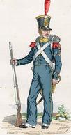 Gravure Couleur. Militaria. Sergent De Carabiniers Du 2e Bataillon 1820 - Uniformes