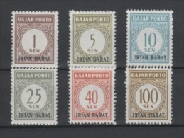 (S0342) INDONESIA (West Papua), 1963 (Postage Due Stamps). Complete Set. Mi ## P1-P6. MNH** - Indonesia