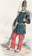 Gravure Couleur. Militaria. Sergent D'une Compagnie De Ligne. 1855 - Uniformes