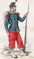 Gravure Couleur. Militaria. Infanterie. Grenadier 1860 - Uniformes