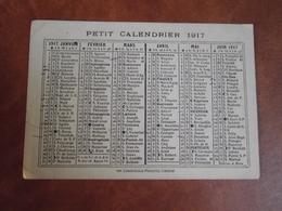 Calendrier, 1917, Sans Publicité  , Type Recto Verso - Petit Format : 1921-40