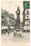36 Amiens - L'Horloge Et La Rue Des Vergeaux - LL - Animée - Charrette - Vélo - Bonneterie - Mr AUGUEZ - Circulé 1907 - Amiens