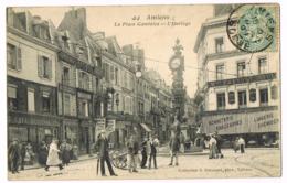 44 Amiens - La Place Gambetta - L'Horloge - O. Hacquart - Bonneterie - Belle Animation - Mlle HAVAUX - Circulé - Amiens