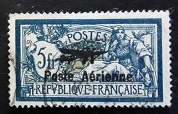 France 1927 Poste Aérienne,  Yvert No 2, Type Merson Surchargé,  5 F Bleu Et Chamois  Obl TB Cote 250 Euros - Poste Aérienne