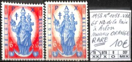 D - [848866]TB//**/Mnh-Belgique 1958 - N° 1088-VAR, 6f ND De La Paix à Arlon, Nuance Orange, RARE - Plaatfouten En Curiosa
