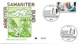 """BRD Schmuck-FDC """"100 Jahre Arbeiter-Samariter-Bund"""" Mi. 1394 ESSt 10.11.1988 BONN 1 - FDC: Covers"""